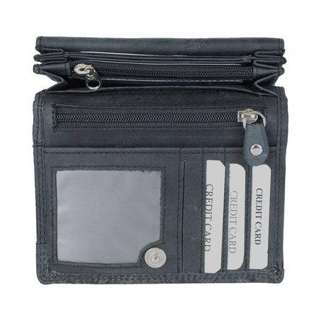 Donkerblauw rundleren dames portemonnee met bloemenprint