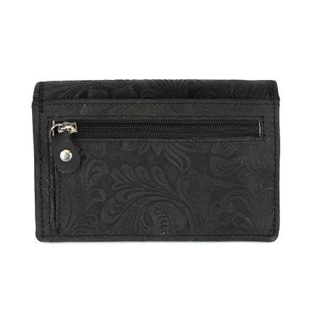 Zwarte rundleren dames portemonnee met bloemenprint