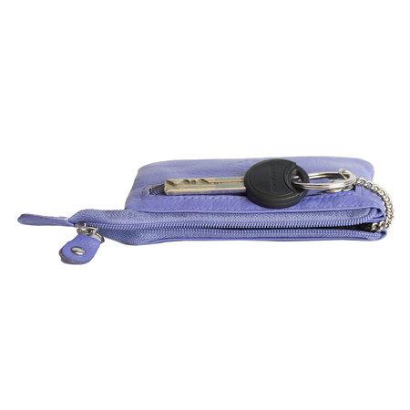 Sleuteletui van paars rundleer met 2 vakjes met rits en 1 sleutelring