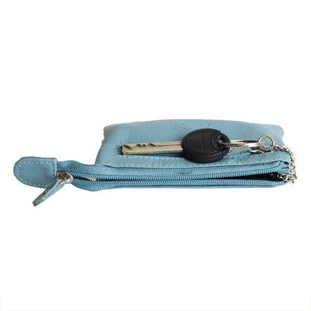 Sleuteletui van lichtblauw rundleer met 2 vakjes met rits en 1 sleutelring