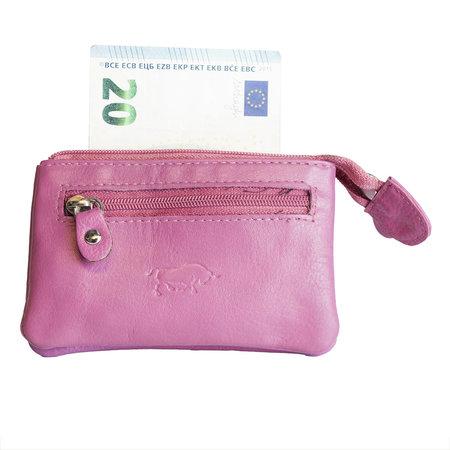 Sleuteletui van roze rundleer met 2 vakjes met rits en 1 sleutelring
