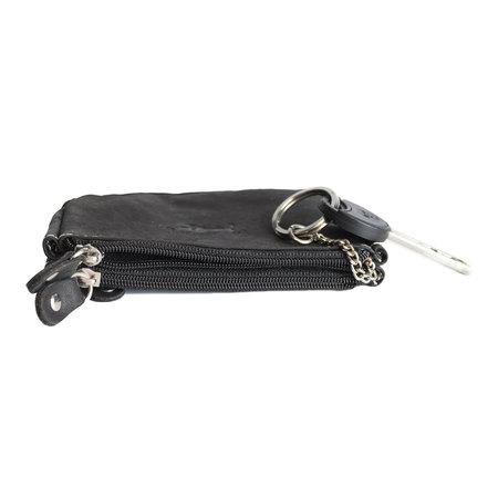 Sleuteltasje van zwart buffelleer met 3 vakjes met rits en 2 sleutelringen