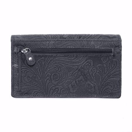 Ruime dames portemonnee van donkerblauw leer met bloemenprint