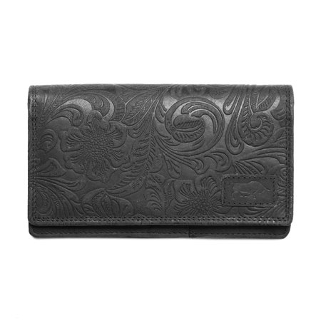 Large ladies wallet of black leather with floral print