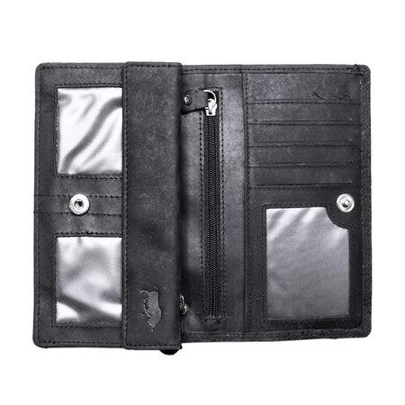 Harmonica dames portemonnee met bloemenprint, zwart