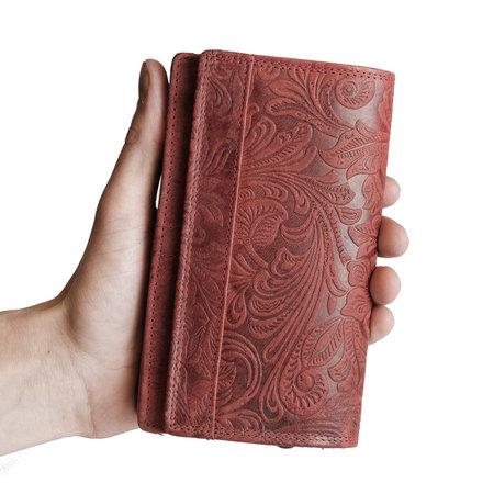 Harmonica dames portemonnee met bloemenprint, rood