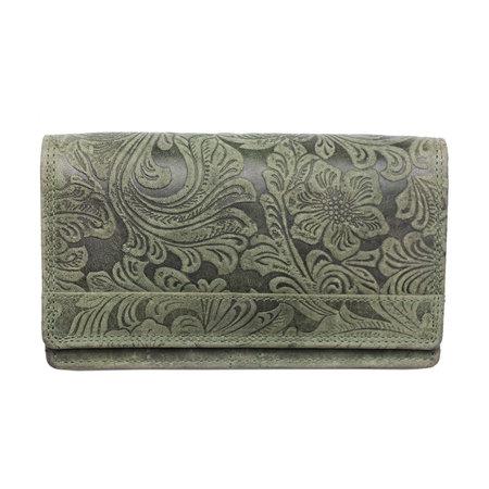 Harmonica dames portemonnee met bloemenprint, groen