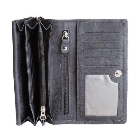 Harmonica dames portemonnee met bloemenprint, donkerblauw