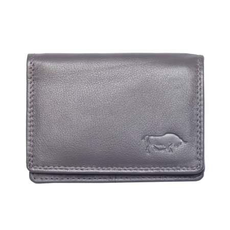 Kleine portemonnee met klep, gemaakt van soepel grijs rundleer