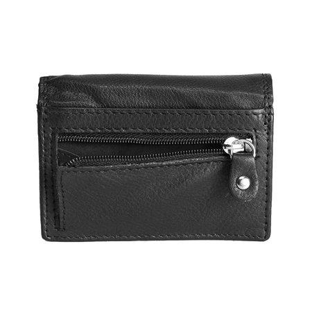 Kleine portemonnee met klep, gemaakt van soepel zwart rundleer