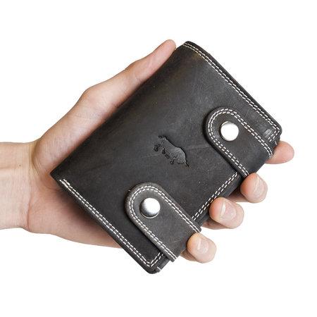 Heren portemonnee met ketting van zwart buffelleer