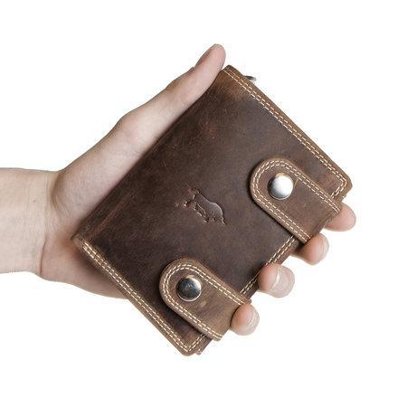 Heren portemonnee met ketting van cognac buffelleer