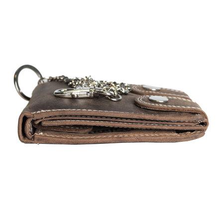 Portemonnee met ketting voor heren van cognac buffelleer