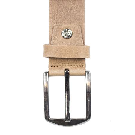 Leren riem, 4 cm breed, cognac/naturel met zilveren gesp