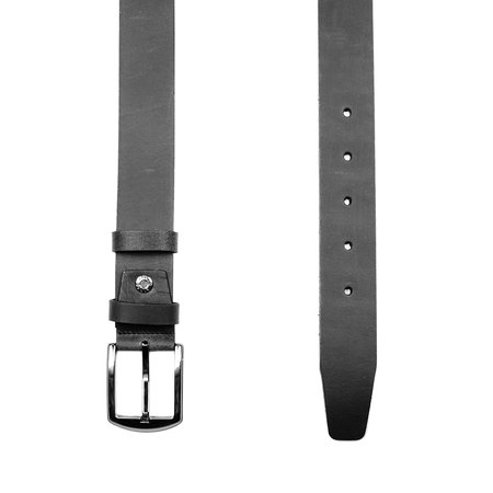 Zwarte Leren Riem - 4 cm Breed Met Zilveren Gesp