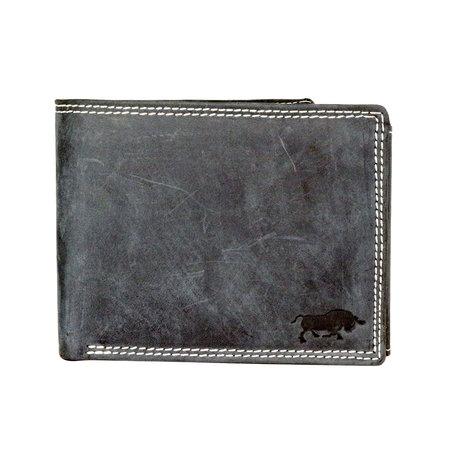 RFID billfold heren portemonnee van buffelleer in de kleur zwart