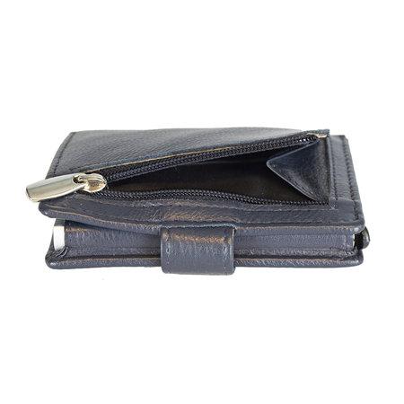 Pasjeshouder met cardprotector van donkerblauw leer