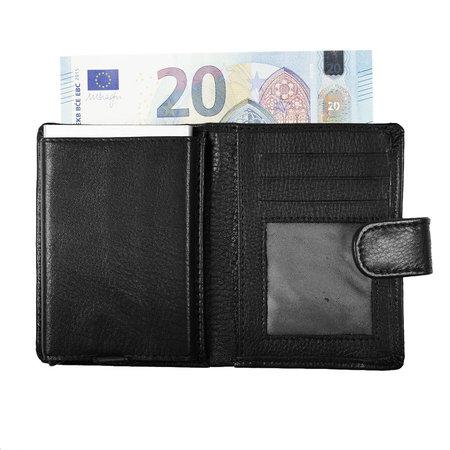Pasjeshouder met cardprotector van zwart leer