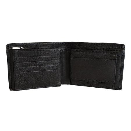 Leren billfold heren portemonnee met een groot ritsvak in de kleur zwart