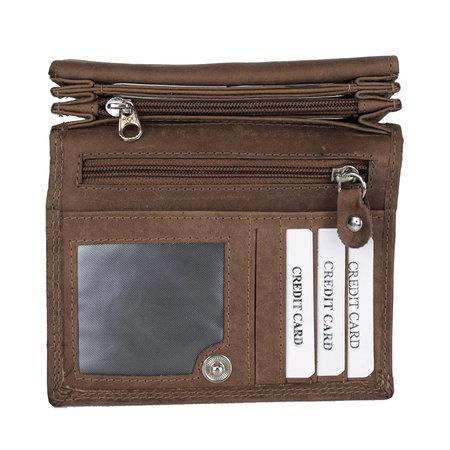 RFID Dames Portemonnee Met Bloemenprint In De Kleur Cognac