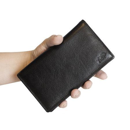 Zwart Leren Dames Portemonnee met Dubbele Klep