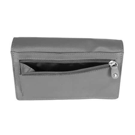 Spacious Wallet with Double Flap Made from Grey Cowhide Leather