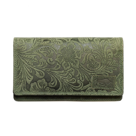 Spacious RFID ladies wallet made of green leather with a floral print