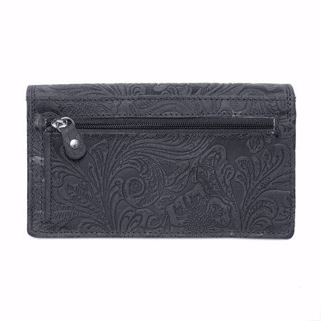 Ruime RFID dames portemonnee van donkerblauw leer met een bloemenprint