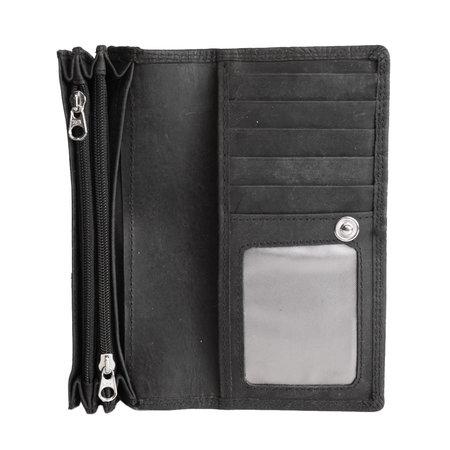 Ruime RFID dames portemonnee van zwart leer met een bloemenprint
