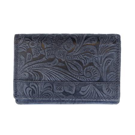 RFID Dames Portemonnee Gemaakt Van Donkerblauw Leer Met Bloemenprint
