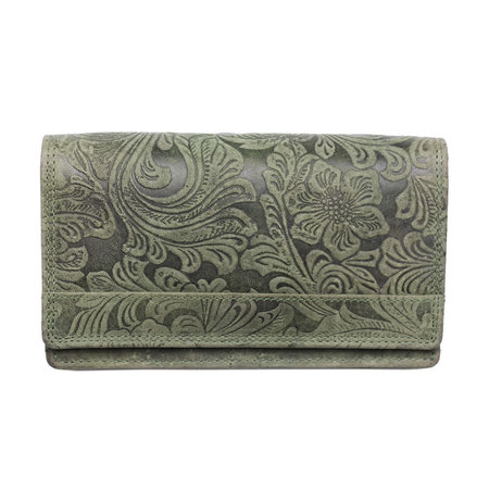 Dames Portemonnee Van Groen Leer Met RFID En Een Bloemenprint