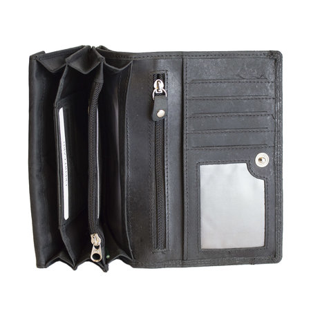 Zwarte RFID Dames Portemonnee Met Bloemenprint