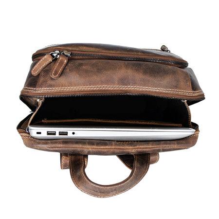 Laptop Rugzak Gemaakt Van Trendy Cognac Kleurig Buffelleer