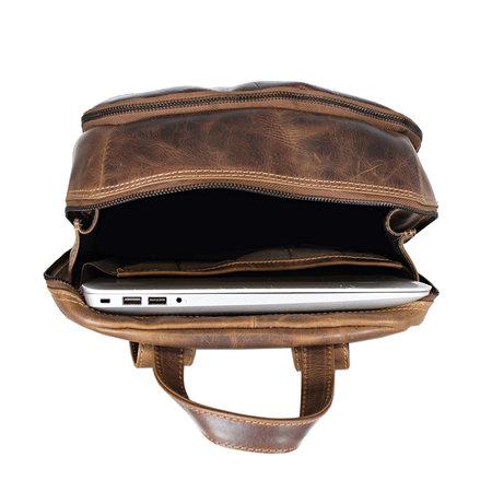 Laptop Rugzak Gemaakt Van Gewaxt Cognac Kleurig Leer