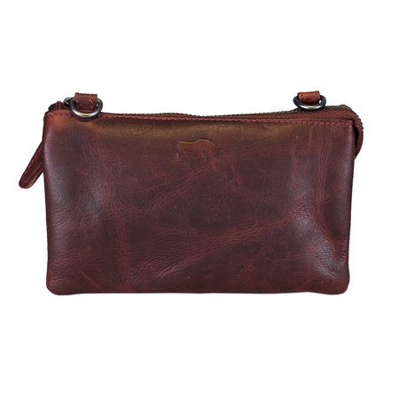 Leather Shoulder Bag - Clutch - Bum Bag In Red Leather