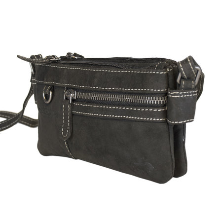 Black Leather Shoulder Bag Or Purse Bag