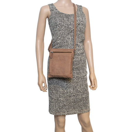 Leather Shoulder Bag - Crossbody Bag In Taupe Leather