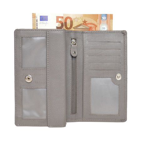 Gray Leather Ladies Wallet, Large Model
