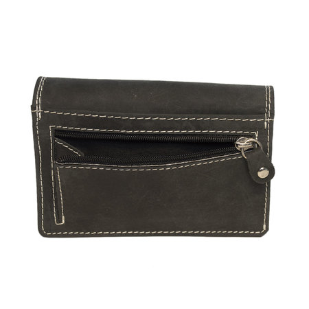Black Leather Ladies Wallet - Harmonica Model