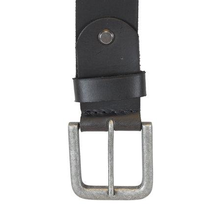 Leren Riem Gemaakt Van Zwart Leer - 4 cm Breed