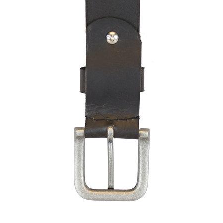 Zwarte Leren Riem Gemaakt Van Echt Leer - 3.5 cm Breed