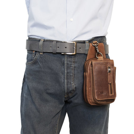 Leather Belt Pouch - Fanny Pack Of Brown Leather With A Pocket For Your Phone