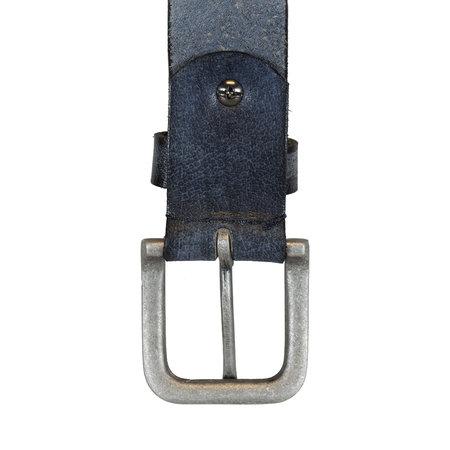 Blauwe Leren Riem Gemaakt Van Echt Leer - 3.5 cm Breed