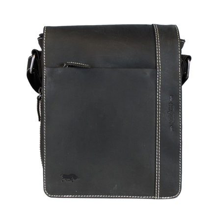Black Leather Shoulder Bag With Space For Your Tablet