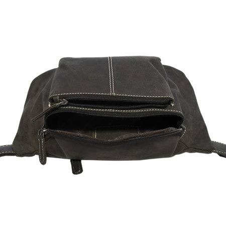 Large Belt Bag For Men Or Ladies Made Of Black Leather
