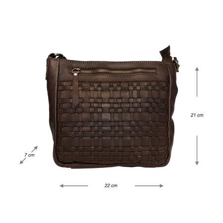 Ladies Shoulder Bag Of Brown Braided Leather