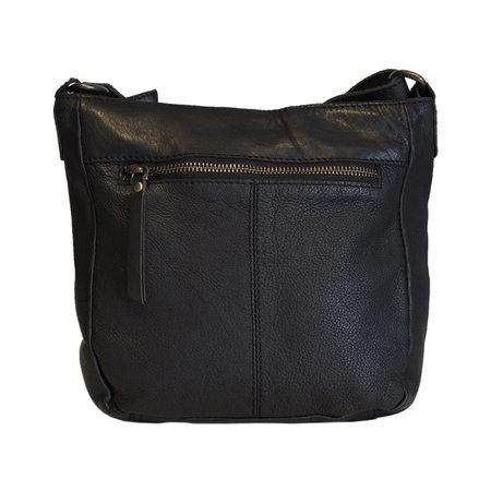 Black Ladies Shoulder Bag Of Smooth Braided Leather