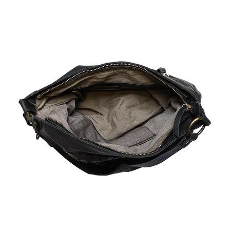 Zwarte Hobo Tas - Schoudertas Voor Dames Van Gevlochten Leer