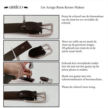 Mat Zwarte Leren Riem Gemaakt Van Echt Leer - 3.5 cm Breed