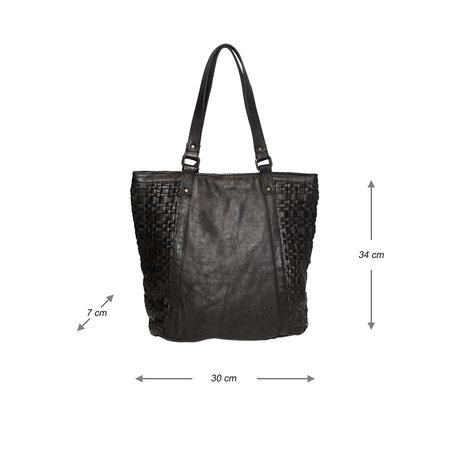 Zwarte Shopper Voor Dames Van Gevlochten Leer